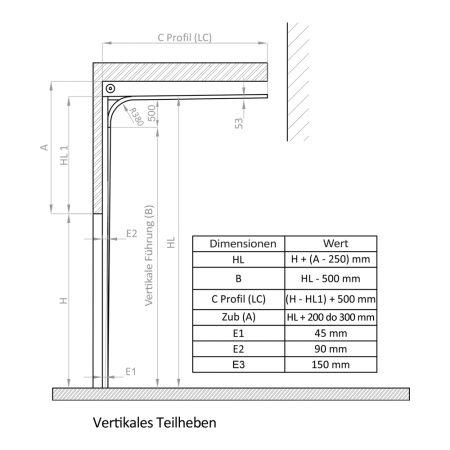 Industrie Sektionaltore | Instalationsmethode | Vertikales-Teilheben