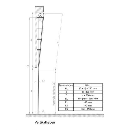 Industrie Sektionaltore | Instalationsmethode | Vertikalheben